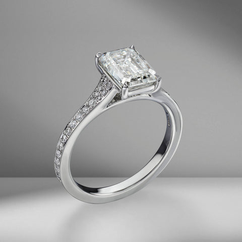 Emerald Cut Engagement Ring with Bright Cut Pavé