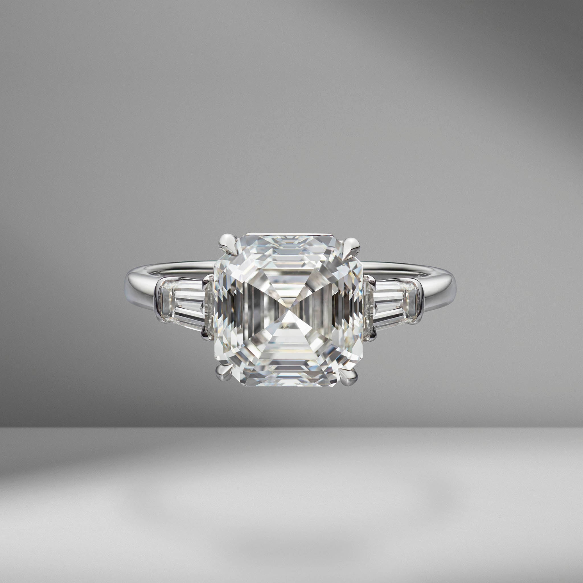 Asscher Cut Engagement Ring with Tapered Baguettes