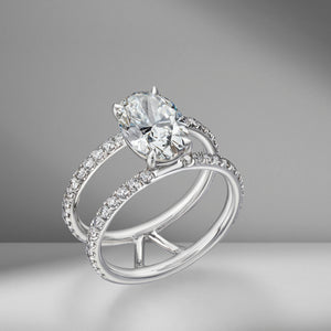Oval Cut Engagement Ring with Double Diamond Pavé