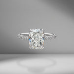 Cushion Cut Engagement Ring with Three Sided Diamond Pavé
