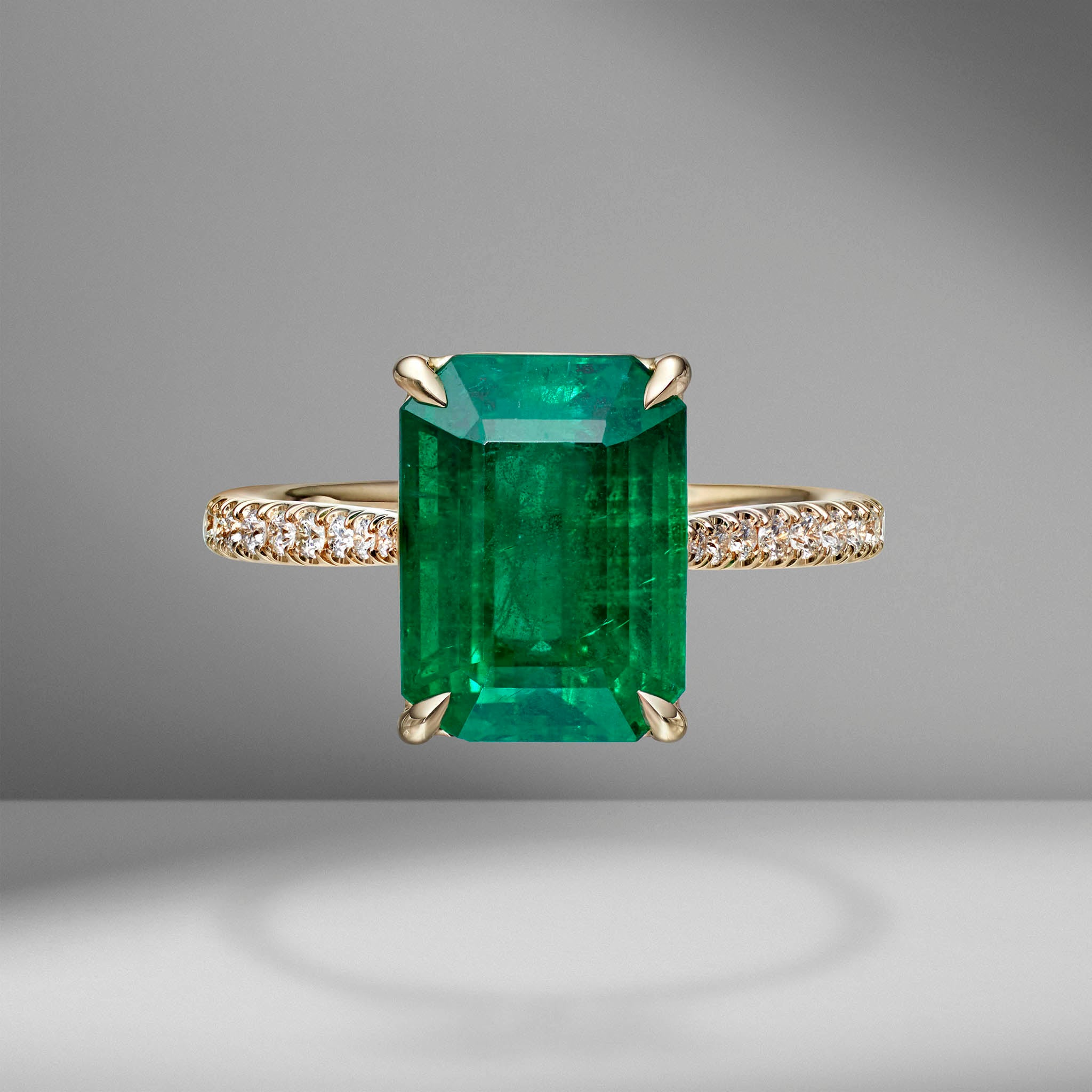 Emerald Cut Emerald Ring with Diamond Pavé