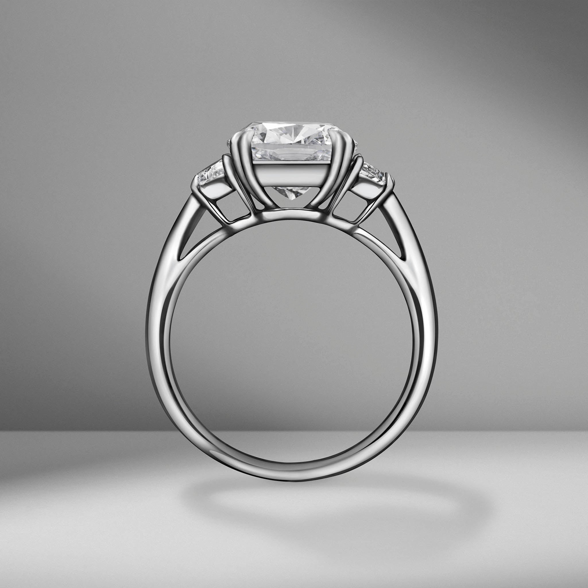 Cushion Cut Engagement Ring with Half Moons