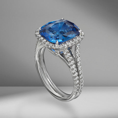 Cushion Cut Sapphire Ring with Diamond Pavé