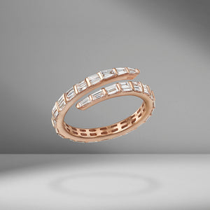 Two Row Baguette Coil Ring