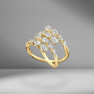 Four Row Pear Shape Diamond Spiral Ring