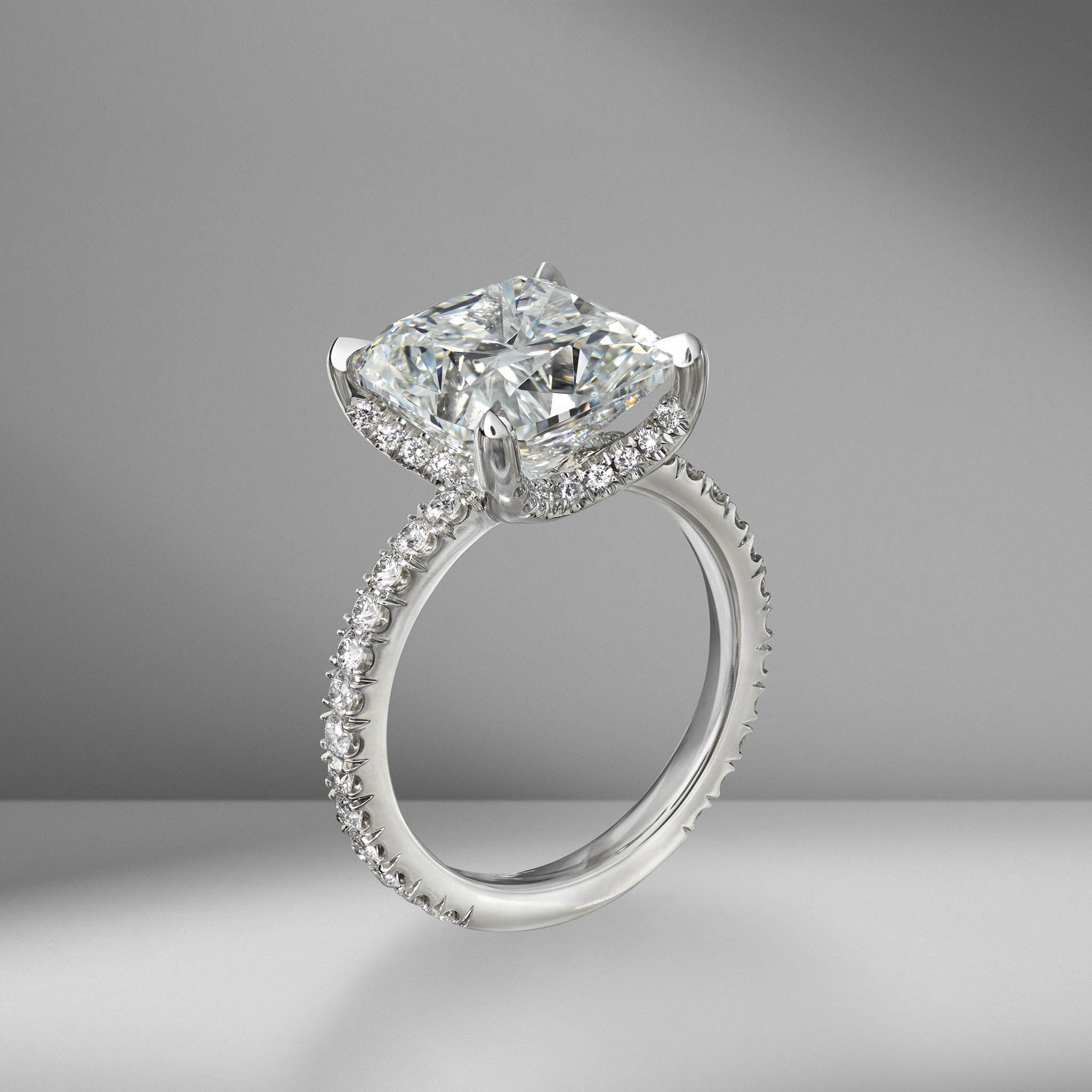 Cushion Cut Engagement Ring with Diamond Pav