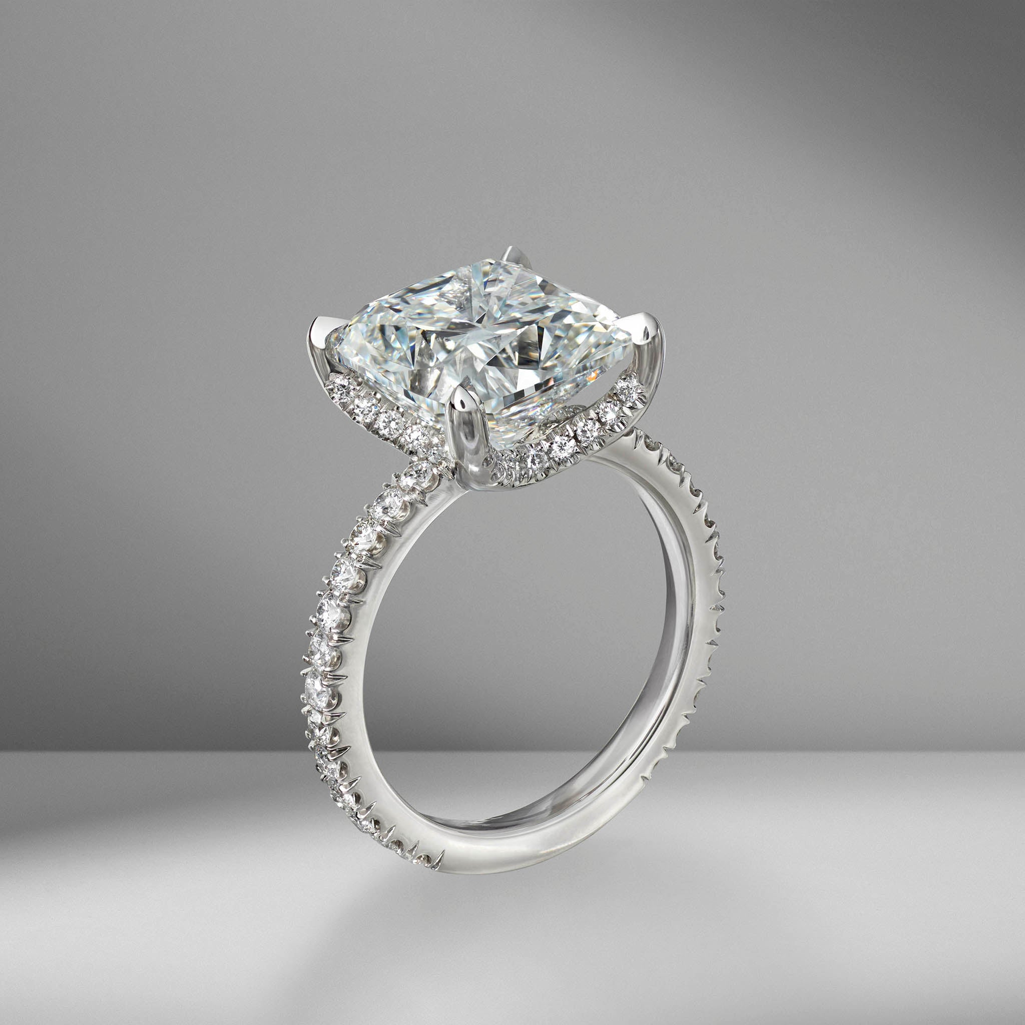 Cushion Cut Engagement Ring with Diamond Pavé