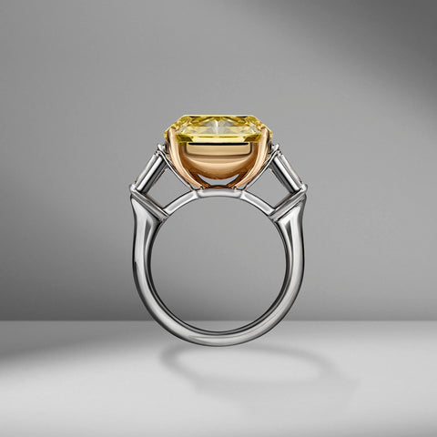 Fancy Yellow Radiant Cut Ring with Tapered Baguettes