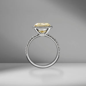 Fancy Yellow Radiant Cut Ring with Pavé