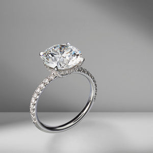 Round Brilliant Cut Engagement Ring with Diamond Pavé