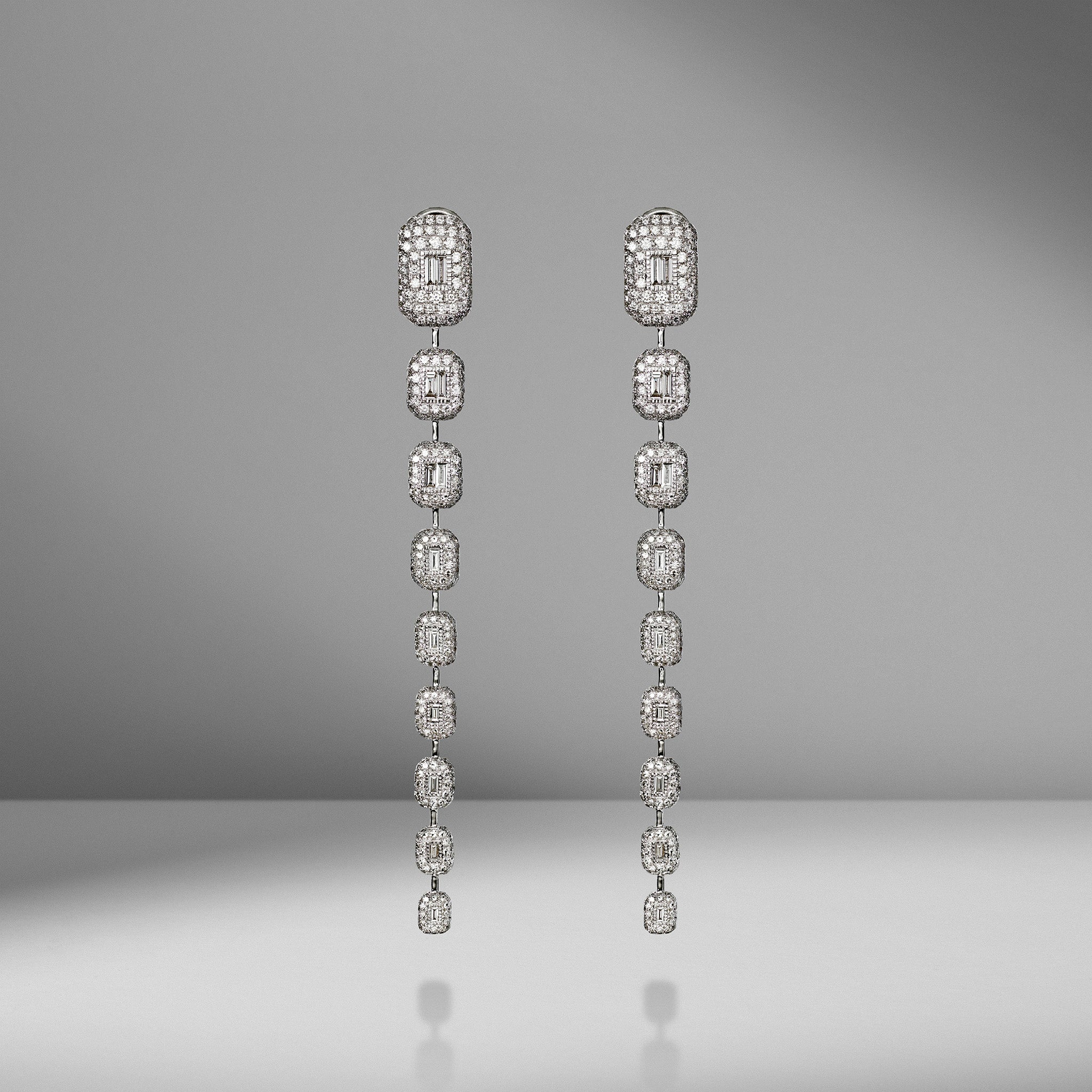 9 Pavé Baguette Drop Earrings