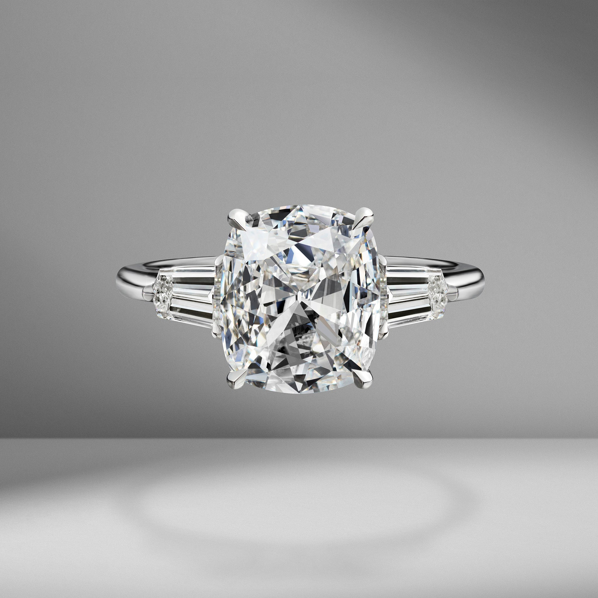 Antique Cushion Cut Engagement Ring with Bullets