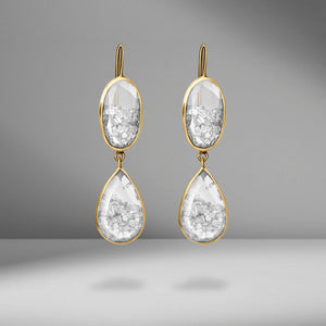 Yellow Gold Floating Diamond Drop Earrings