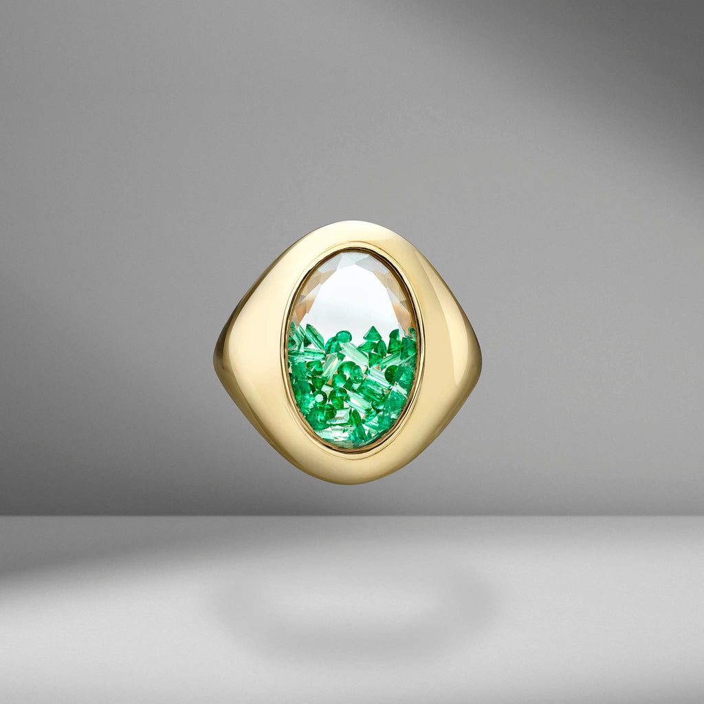 Emerald Shaker Signet Ring