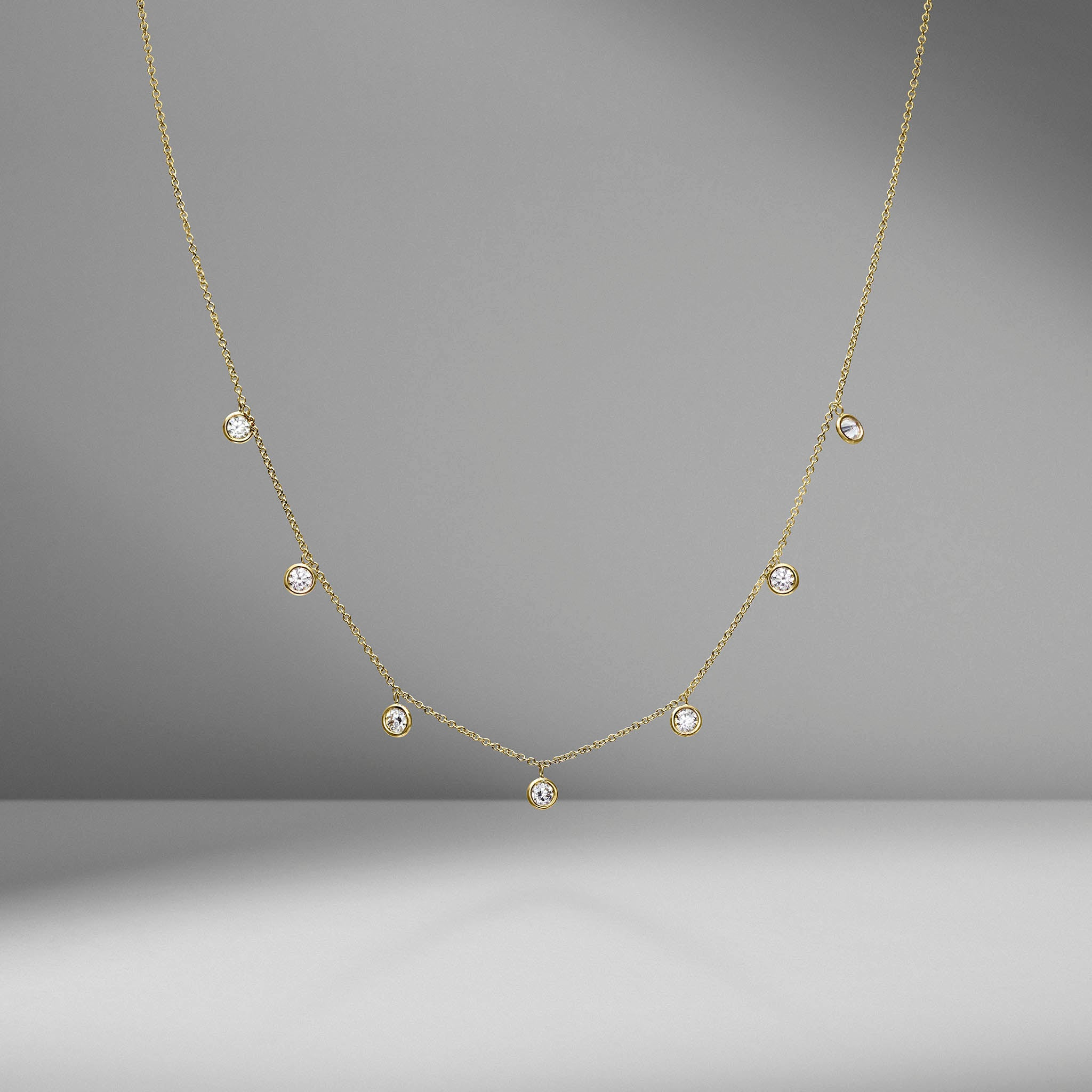 Bezel Set Diamond Dangle Necklace