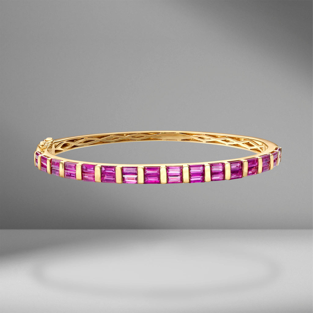 Baguette Cut Ruby Bangle