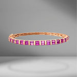 Half Baguette Cut Ruby Bangle