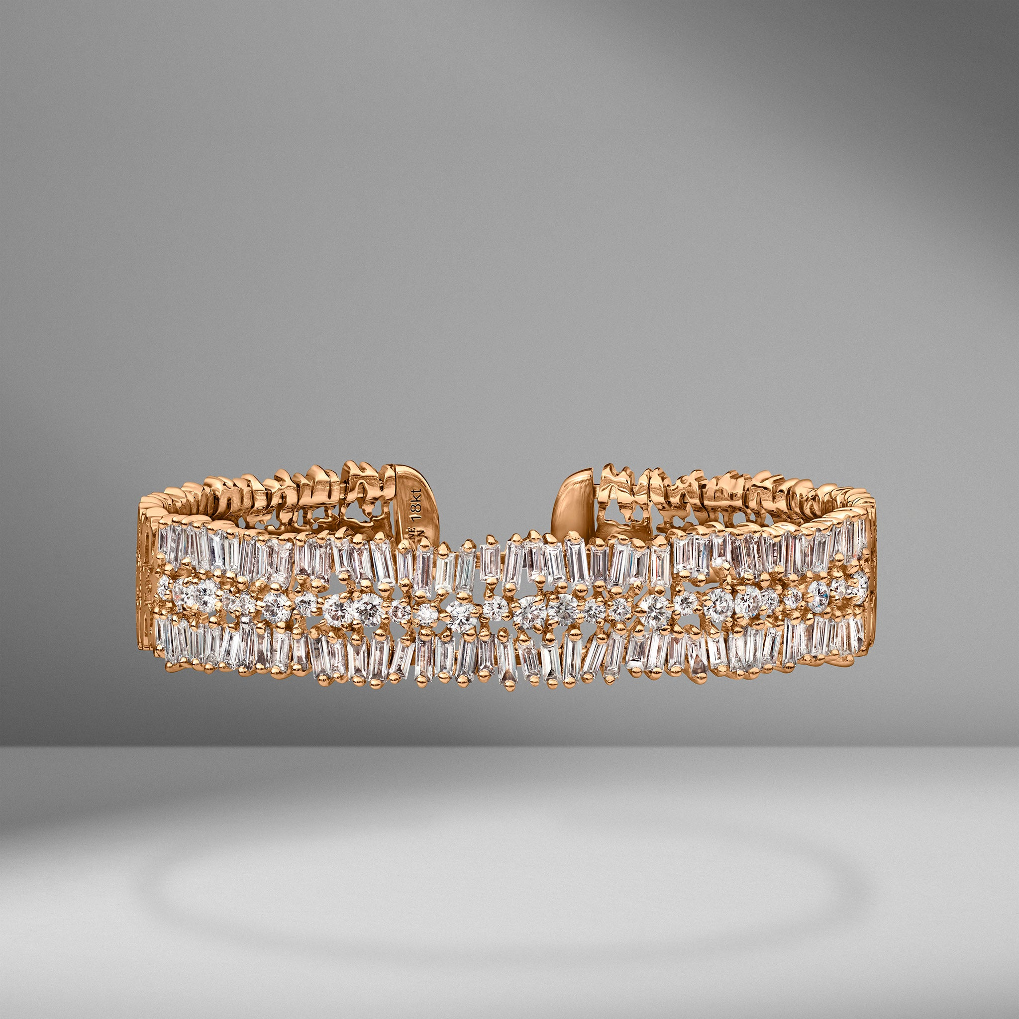 Fireworks Round & Baguette Diamond Bangle