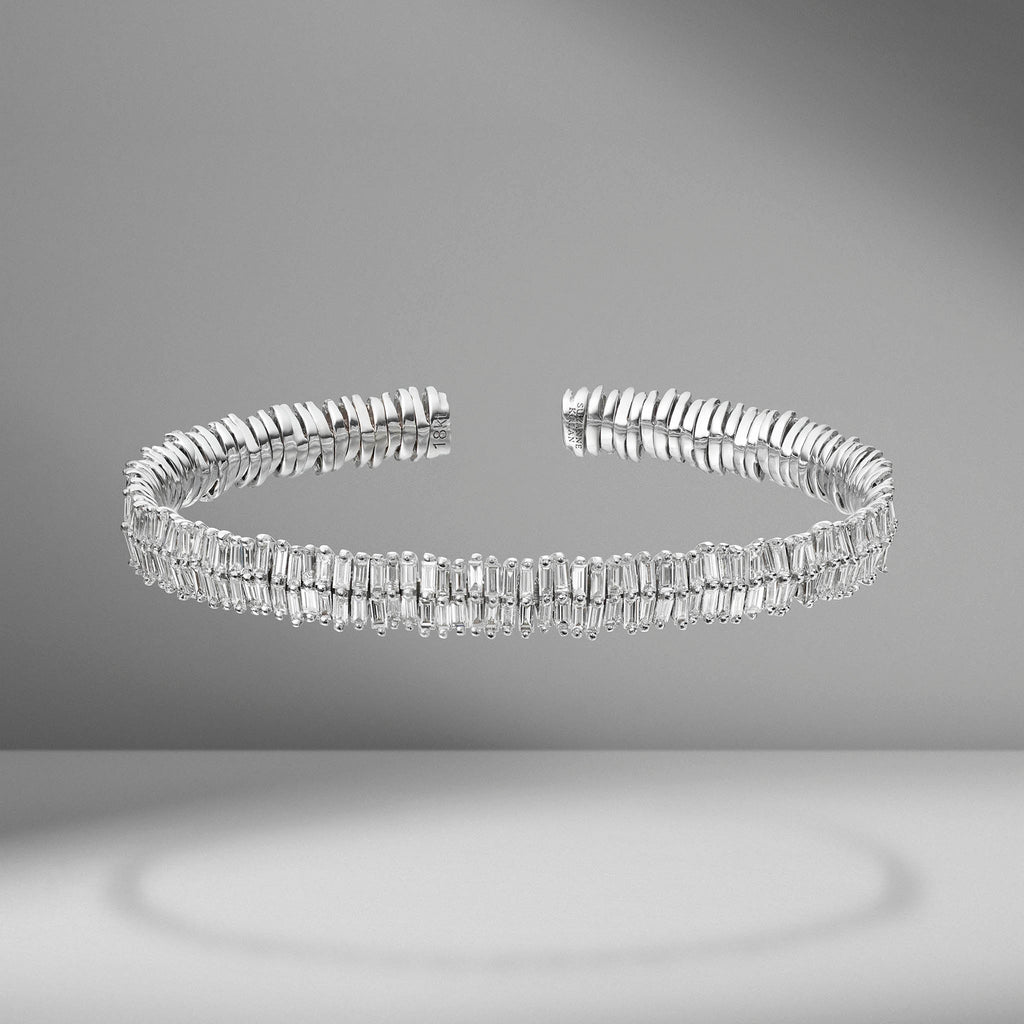 Two Row Medium Baguette Diamond Bangle