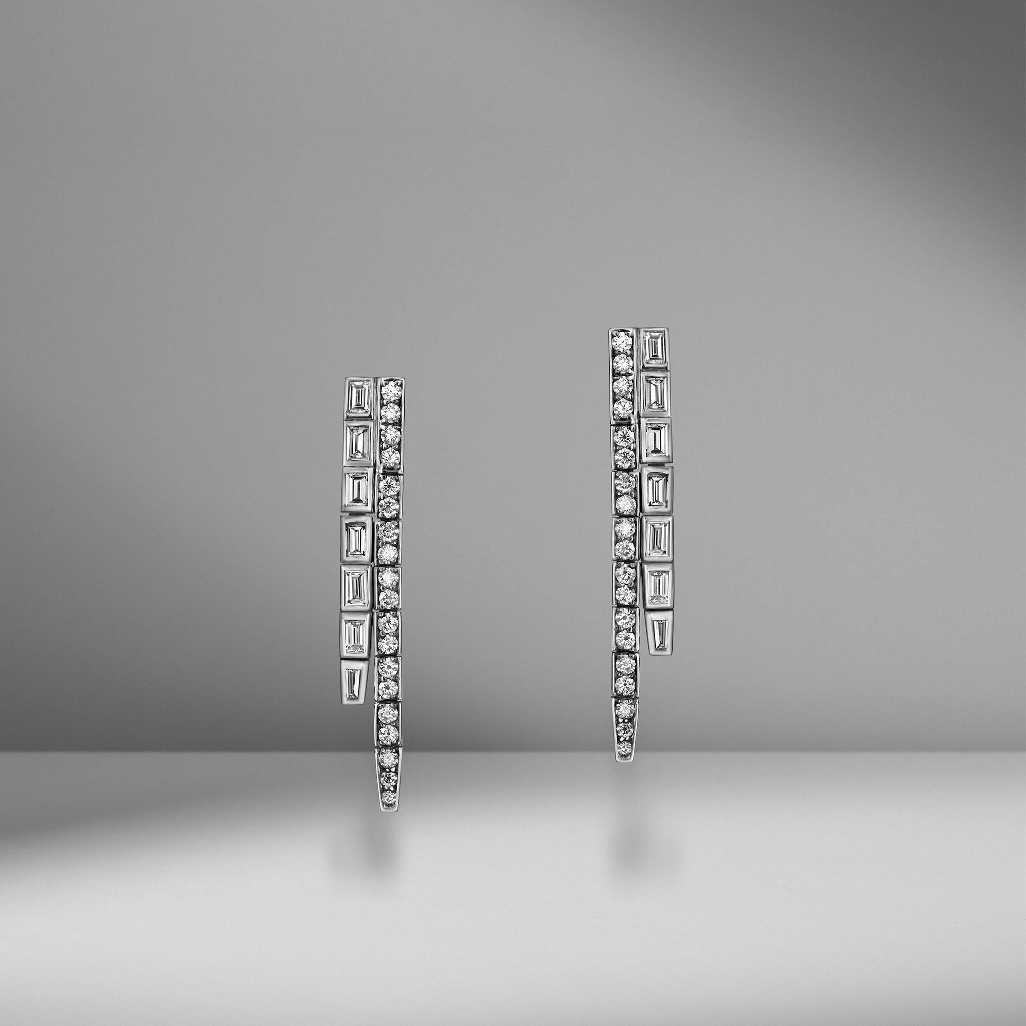 Modern Deco Long Diamond Drop Earrings