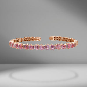 Fireworks Pink Sapphire & Diamond Baguette Bangle