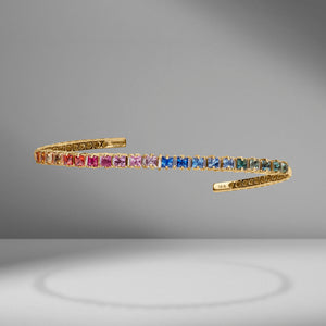Rainbow Square Sapphire & Diamond Bangle