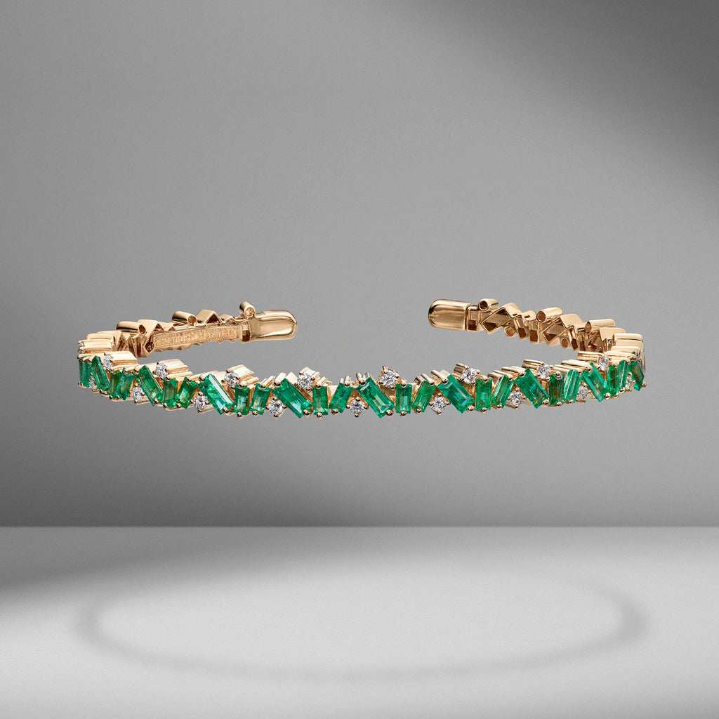 Frenzy Emerald & Diamond Bangle