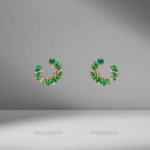 Mini Emerald & Diamond Spiral Earrings