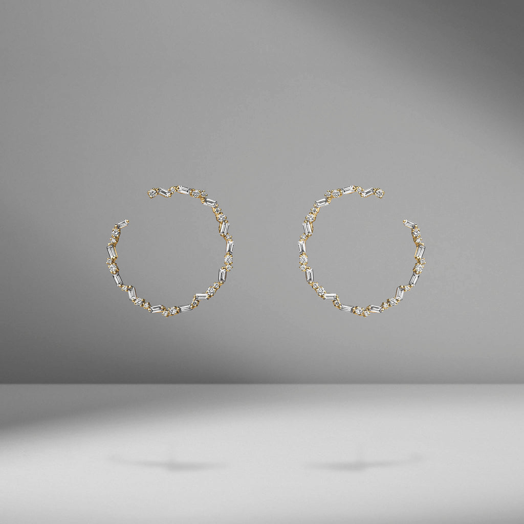 Thin Diamond Sideways Hoops