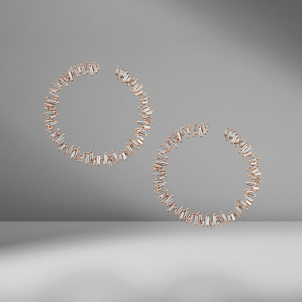 Diamond Fireworks Spiral Hoop Earrings