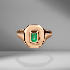 Emerald Baguette Pinky Ring