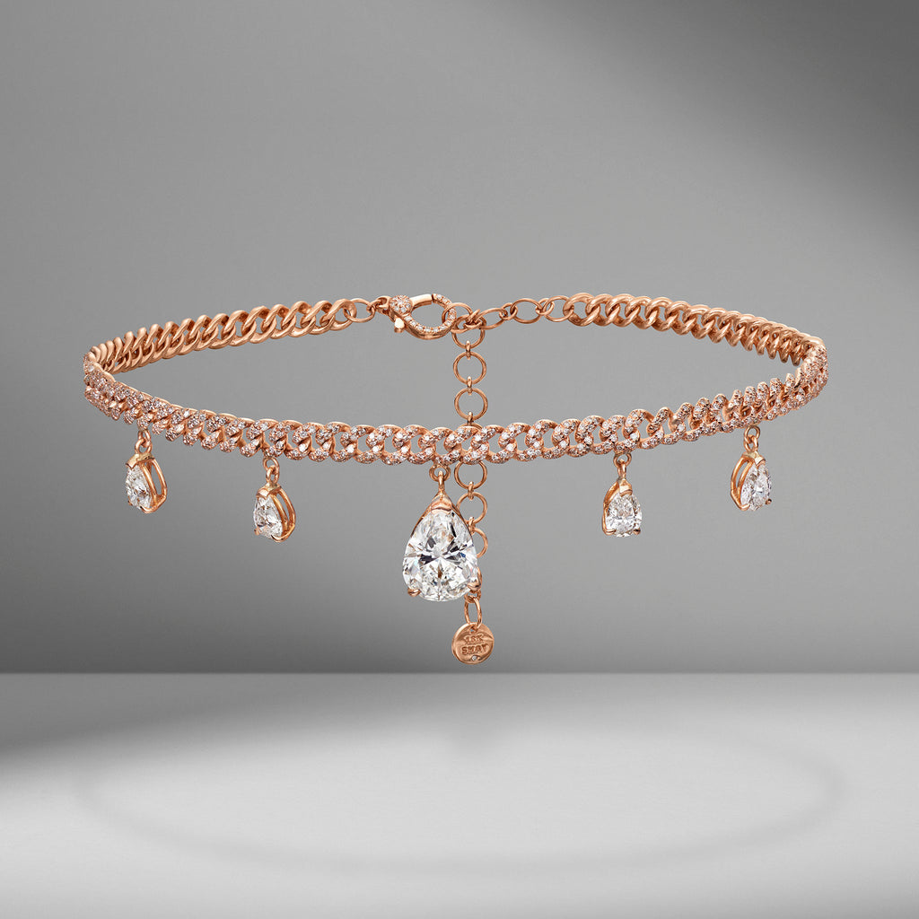 Pear Diamond Drop Pavé Link Choker