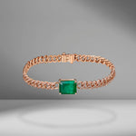 Mini Link Bracelet with Emerald Center
