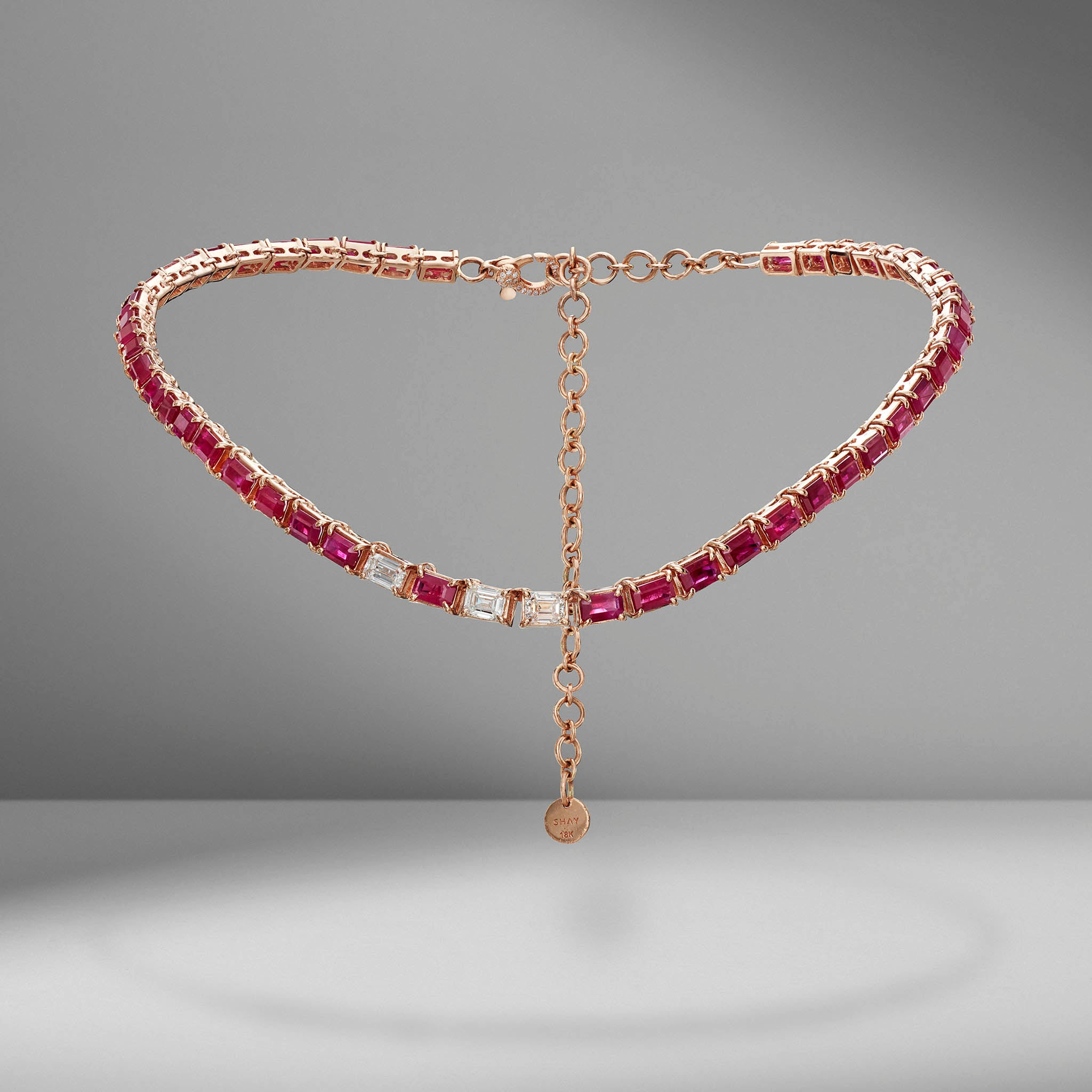 Two-Tone Ruby & Diamond Tennis Necklace