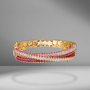 3 Sided Ruby Orbit Bracelet