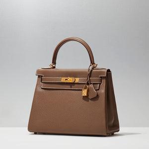 Kelly 28cm Sellier in Etoupe by Hermès