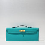 Kelly Cut Clutch in Blue Paon by Hermès - Hermes