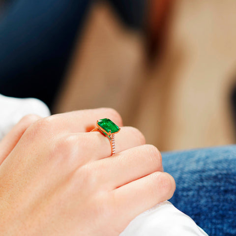 Emerald East-West Ring with Diamond Pavé Detail