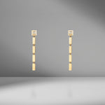 Gold Bar and Carre Diamond Staircase Earrings