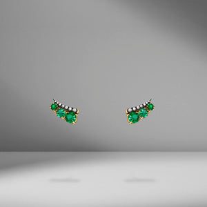 Prive Emerald & Diamond Ear Climbers