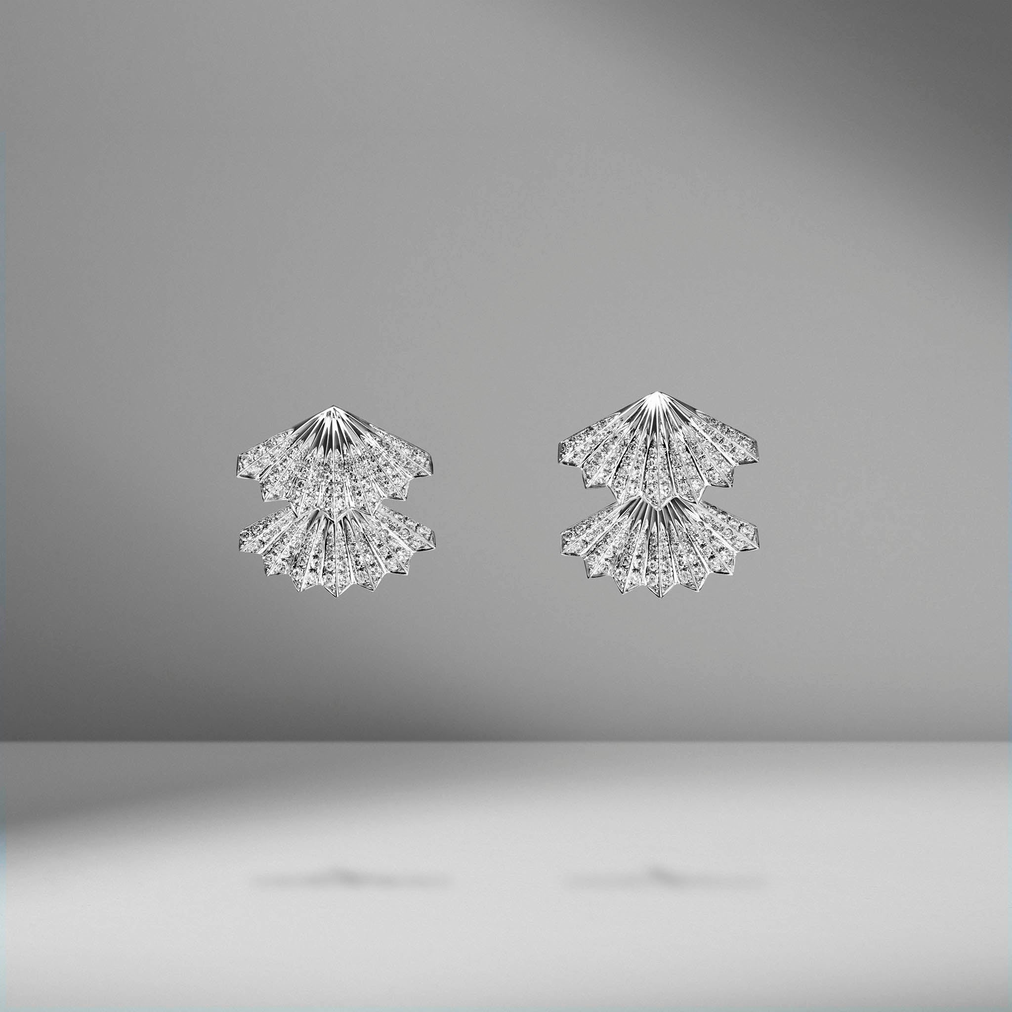 Double-Fan Diamond Earrings