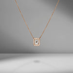 Emerald Cut & Diamond Pavé Pendant