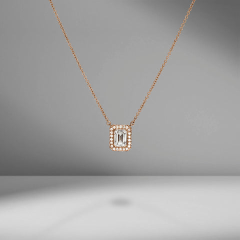 Rose Gold Emerald Cut Diamond Pendant by Material Good
