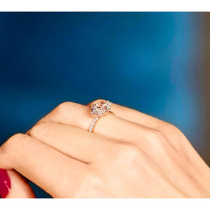 East-West Oval Cut Engagement Ring with Diamond pavé