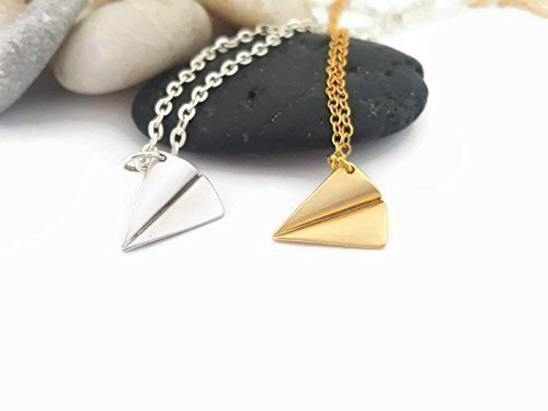 Elegant Origami Paper Airplane Charm Necklace