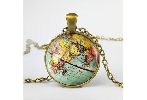 Wanderlust World Map Necklace
