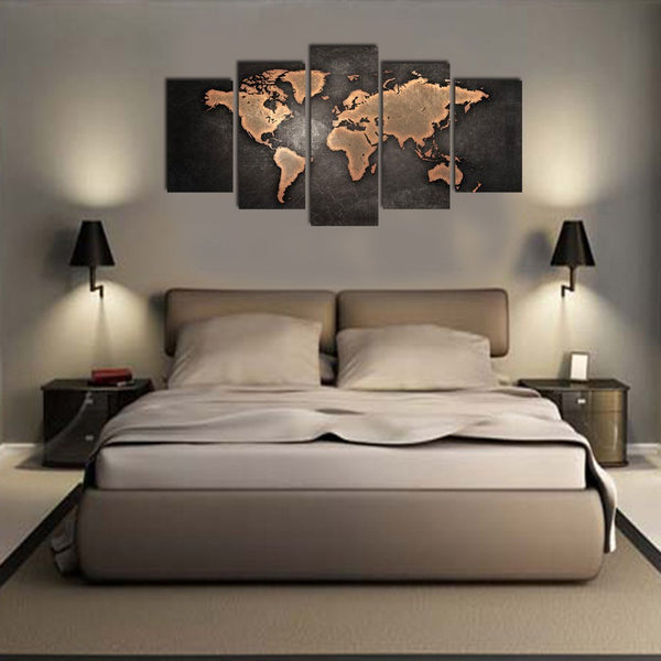 Vintage World Map Canvas Painting (5 Pcs)