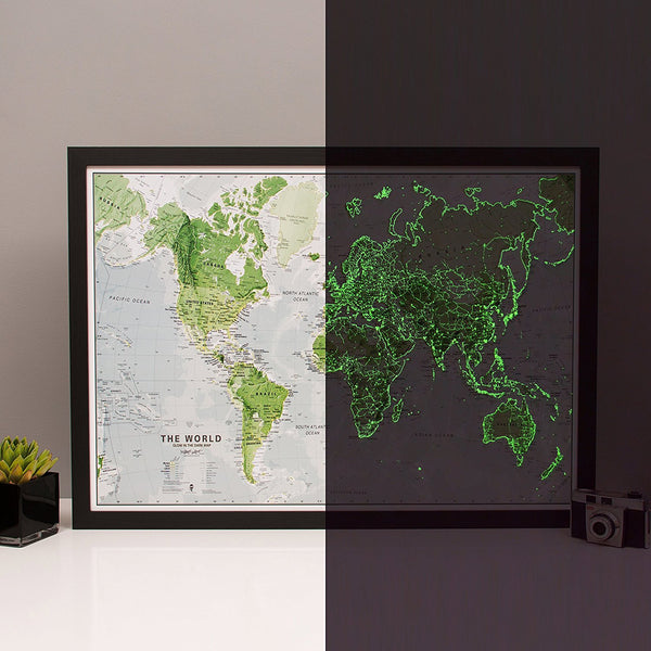 Premium Glow In The Dark World Map