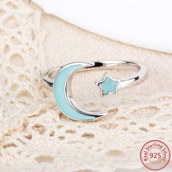 925 Sterling Silver Glow In The Dark Moon Ring