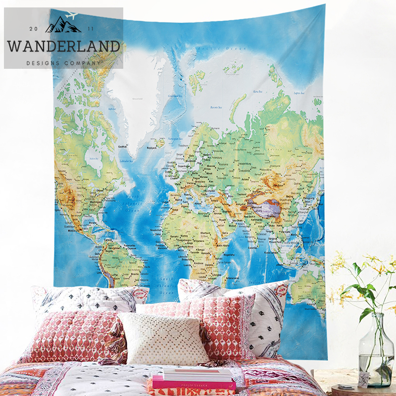 Beautiful Detailed World Map Tapestry Wanderland Designs